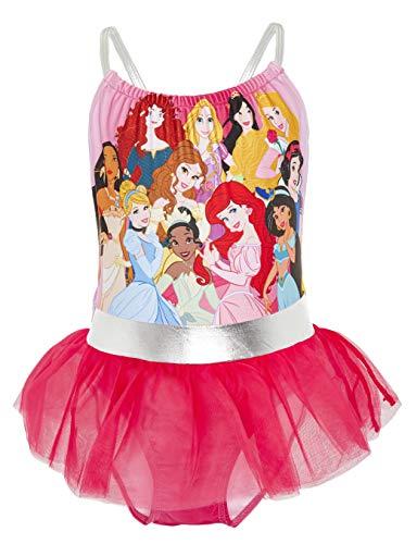 Disney costume piscina bambina, costume da bagno delle principesse ariel la sirenetta, biancaneve, costume piscina mare intero, abbigliamento bambina 2-10 anni (5/6 anni, rosa)