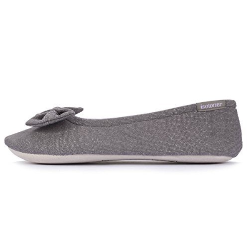 Isotoner Chaussons ballerines femme grand noeud Femme Gris