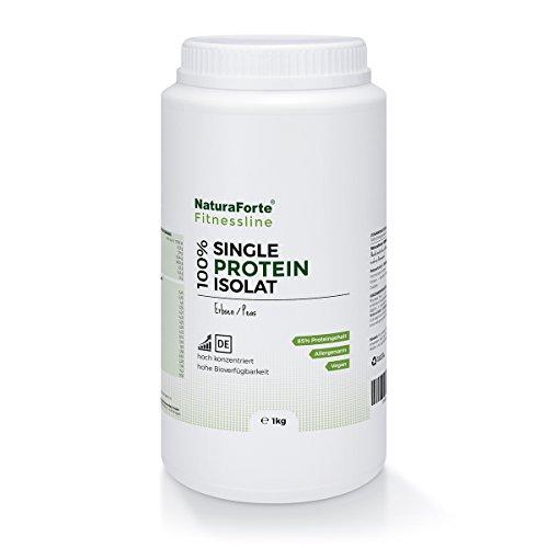 NaturaForte Reines Erbsen-Proteinpulver 1kg Neutral, 85-88% Eiweiss für Protein Shake im Shaker, Gut Löslich mit neutralem Geschmack, Hochwertiges Low-Carb Eiweißpulver ohne jegliche Zusätze, Vegan Protein, Glutenfrei Laktosefrei Cholesterinfrei - Fitness-Line Pflanzlichen Farbstoff Pulver