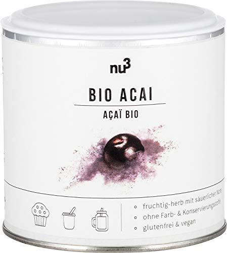 nu3 Bio Acai-Beeren Pulver - 65g Dose - passt in Smoothies, Bowls & Proteinshakes - Power-Beeren vom Amazonas - Rohkost-Qualität durch schonende Trocknung - beliebtes Surfer Frühstück aus Südamerika