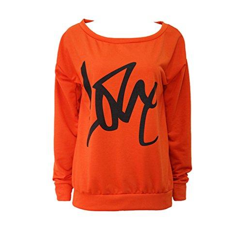 WanYang Femmes Impression Tee Shirt Long Tshirt Manche Longue Chemise Col Rond Casual Blouse Sport Pull Tops Orange