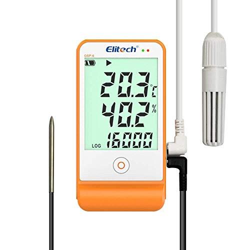 Elitech Thermometer Hygrometer Thermo-Hygrometer Feuchtigkeits-Meter Feuchtigkeit Monitor Innen / Außen Temperatur Messgerät Thermostat Sensor Sonde