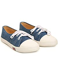 Bare Soles Women Trendy Shoe Blue Denim Lace Up