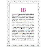 18. Geburtstag - Geschenkidee zur Volljährigkeit - Personalisiertes Bild mit Rahmen - Geburtstagsgeschenk für Mädchen/Frauen oder Beigabe zum Geldgeschenk, Kunstdruck, DIN A4