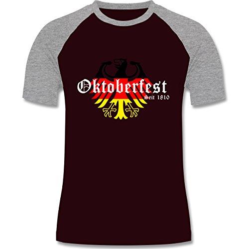 Oktoberfest Herren - Oktoberfest Seit 1810 Deutschland Germany Adler - zweifarbiges Baseballshirt für Männer Burgundrot/Grau meliert