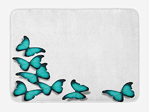 VYPHN Turquoise Bath Mat, Butterflies Morphs Pattern Spring Sunny Day Warm Weather Free Enjoyment, Plush Bathroom Decor Mat with Non Slip Backing, 15.7X23.6 inch, Black Turquoise
