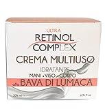 Ultra Retinol - 100% Made in Italy Crema multiuso alla Bava di Lumaca. Indicata per Viso, Mani e Corpo. Fresca e leggera grazie alla sua base acquosa. Super idratante e nutriente grazie all'olio di Jojoba, Vitamine A, Vitamina E, Retinolo. L'...