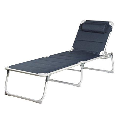 blaue Sonnenliege mit Kopfkissen ca. 200x67x35cm, faltbar, extra breit und bietet dadurch hohen Liegekomfort + Stabilität