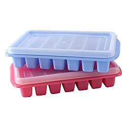 HOKIPO Rectangular Shaped Mini Ice Tray with Transparent Lid- Pack of 2 (Random Colors)