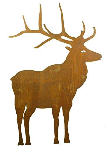 Metallmichl Edelrost Hirsch groß Höhe 98 cm nach vorne schauend aus Rost-Metall