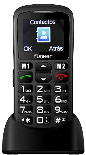 Teléfono Móvil Funker - C50 Easy Plus Negro - Para personas mayores con botón SOS y base cargadora