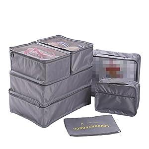 WSLCN Sac de Rangement Ensemble de 7 Pcs Organisateurs de Voyage Bagages Organiseur de Stockage Sacs Etanche Trousses de Toilette en Filet Cubes d'emballage Cabine Organisateur Valise