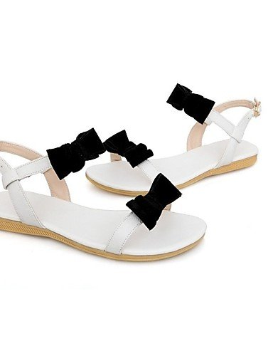 LFNLYX Chaussures Femme-Extérieure / Décontracté-Blanc / Amande-Talon Plat-Baby-Sandales-Daim almond