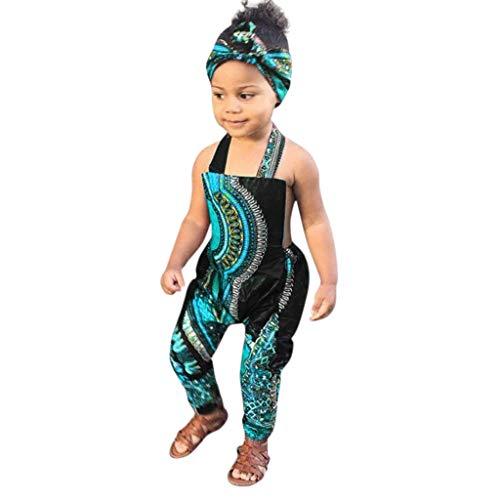 xmansky Kleinkind Kind Baby Mädchen Riemen Overalls Stück Hosen Rompers Jumpsuits Sommerkleidung,Kleinkind-Kind-Baby-afrikanischer Druck-ärmellose Spielanzug-Haarband-Overall-Kleidung