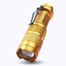 judyelc Mini LED Linterna Linterna 3-levels Zoom de enfoque ajustable para hogar Camping senderismo viaje Patrulla, dorado