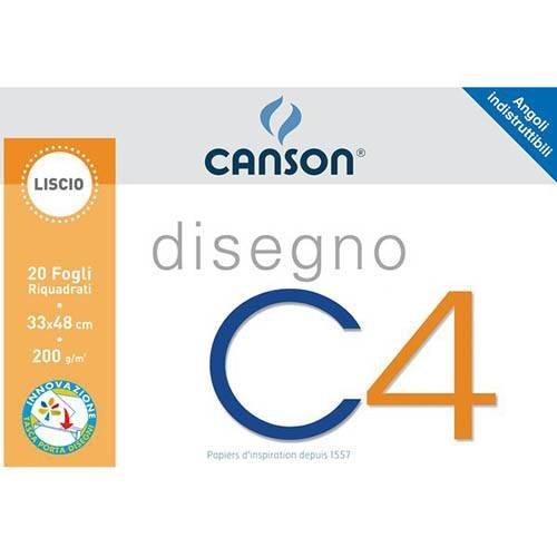Canson - album a 4 angoli, disegno c4, ruvido, 20 fogli, 224 g/mq, 33x48 cm