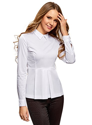 Oodji ultra donna camicetta basic con peplo, bianco, it 42 / eu 38 / s