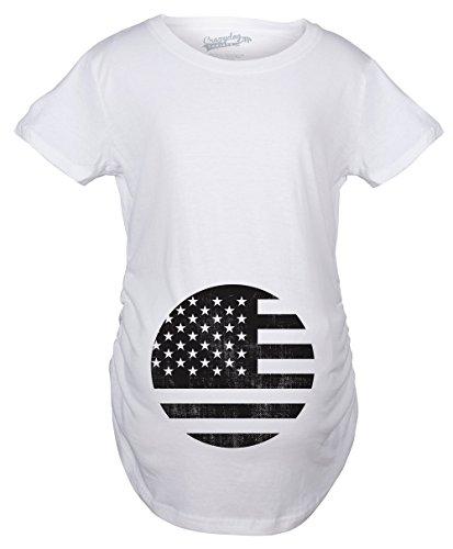 2977d0713f7d2 Crazy Dog Tshirts - Maternity American Flag Pregnancy Tshirt Cool Patriotic  USA Belly Bump tee -S - Camiseta De ...