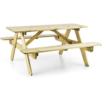 Blumfeldt Table de Pique-Nique (Banc Meuble Jardin pour Enfants, résistant  aux intempéries grâce à Son Traitement Autoclave, epaisseur de 2 cm) - ...