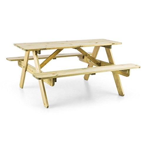 Eiche Tisch-bank (Blumfeldt Picknickerchen • Kinder-Picknick-Tisch • Spieltisch • Gartentisch • 35 cm Sitzhöhe • kurzer Bank-Tisch-Abstand • abgerundete Kanten und Ecken • witterungsfest • Kiefern-Echtholz • FSC-zertifiziert • Kesseldruckimprägnierung • hellbraun)