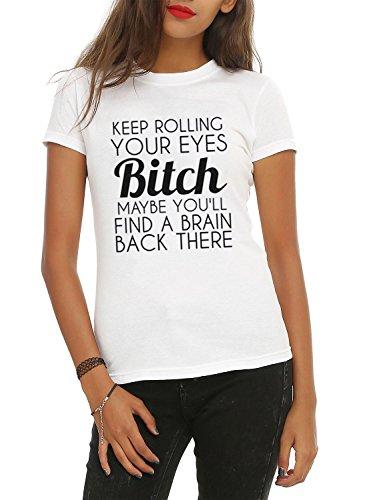 Nlife Stampa Divertente della Lettera delle Donne TIENI A ROTOLARE I tuoi Occhi Bitch T-Shirt Basic White