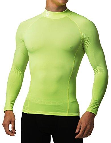 Defender Kompression Mock Shirts Strumpfhosen Unterschicht Hockey kleine Lt50-fluoreszierend gelb