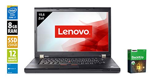 Lenovo ThinkPad T530 | Notebook | Laptop | 15,6 Zoll (1600x900) | Intel Core i7-3520M @ 2,9 GHz | 8GB DDR3 RAM | 250GB SSD | DVD-Brenner | Webcam | Windows 10 Home (Zertifiziert und Generalüberholt) - Die Aus Dem Leasing Thinkpad