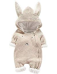 Mitlfuny Niños Niñas Monos de Manga Larga para Bebés Otoño Invierno Grueso Más Terciopelo Algodón Mameluco de Orejas de Conejo para Recién Nacido Peleles Gatear Ropa de Una Pieza Saco de Dormir