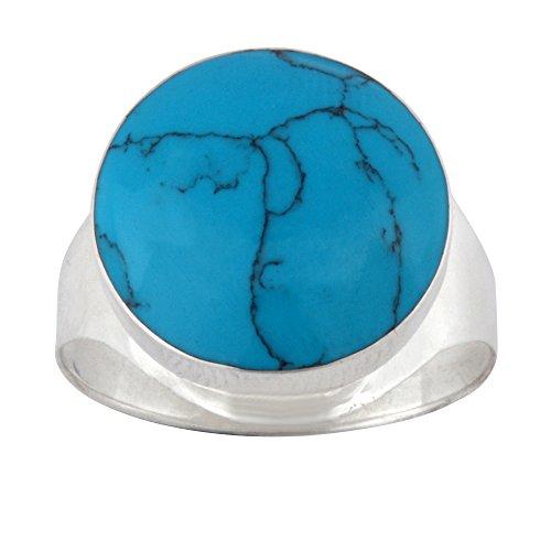 Silverly Anello Argento 925 Pietra Grande Rotonda Turchese Simulato Azzurro