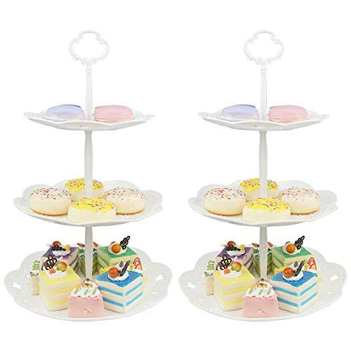 Hetoco 3-stöckig Gebäck Muffin Obst Kunststoff Kuchenständer Etagere Dessert ständer Display Servierständer Cupcake Ständer für Party, Geburtstag, Hochzeit, Weihnachten (2 Stücke- Rund