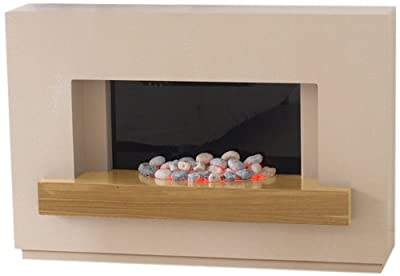 Adam Sambro Electric Fireplace Suite in Travertine with Oak Veneer Shelf, 2000 Watt
