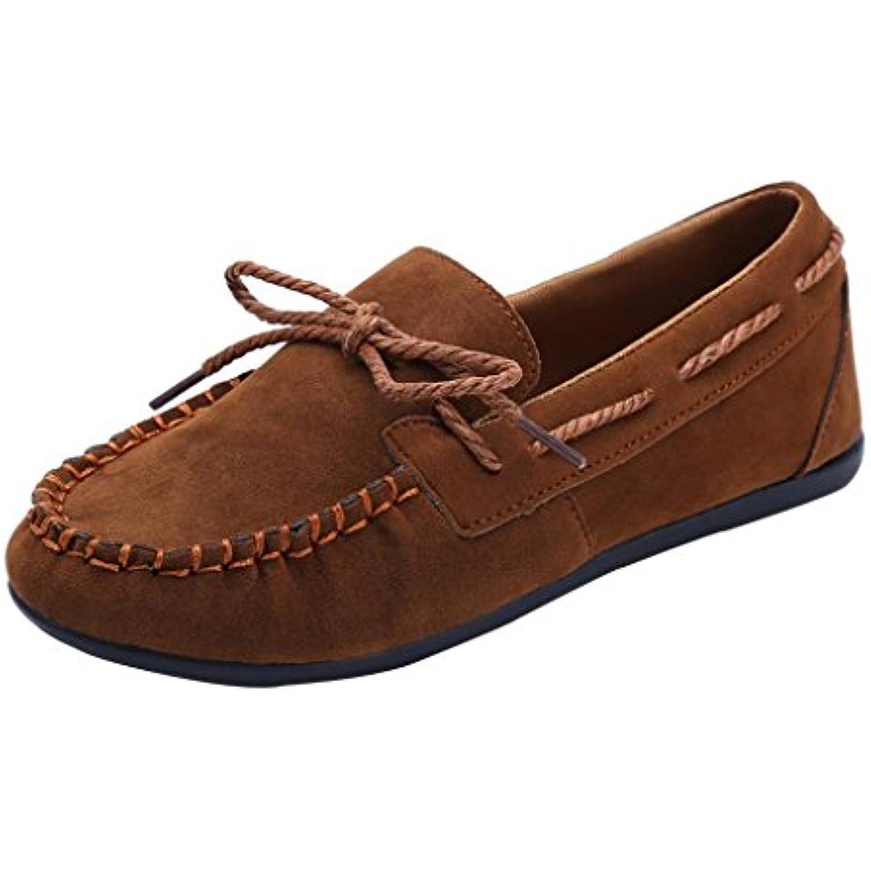 Mocassins en Daim Femme à Enfiler Large Été Automne Chaussures Plates Cuir Pointure Large Enfiler Casual Comfort Overdose Slip... - B07F9NHHHH - 474680