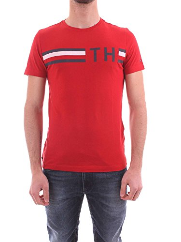 Tommy Hilfiger Men's Striped Graphic T-Shirt, Red