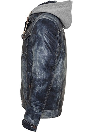 Hooded Denim Look Jacket Denimblue