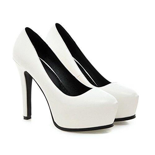 VogueZone009 Femme à Talon Haut Couleur Unie Tire Matière Souple Rond Chaussures Légeres Blanc