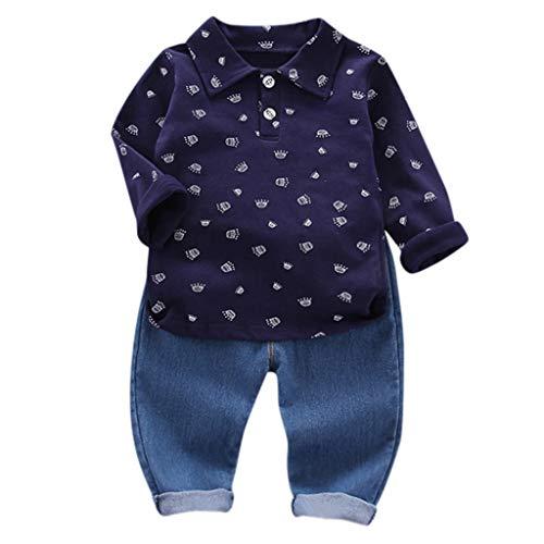 Yuiopmo baby Babybekleidung, Lange Ärmel Oberteile Tops Shirt+ Hosen Zweiteiliger Denim Hoodie Bekleidungssets Babyanzug Outfits - Rock Of Ages Kostüm Männer