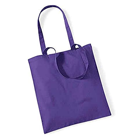 Westford Mill longue durée Poignées Shopper Sac Cabas en coton Sac bandoulière WM101, Coton, violet, 38 x 42cm