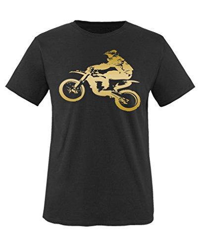 Comedy Shirts - Motorcross Motorrad - Jungen T-Shirt - Schwarz/Gold Gr. 152-164 Schwarz-gold-tv-serie