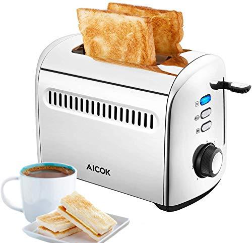 AICOK Toaster, Automatischer Toaster, Toaster, 2 Scheiben, Toaster aus Edelstahl mit herausnehmbarem Miga-Tablett, 7 Toast-Optionen, 950 W, Silber