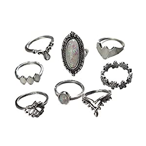 YSoutstripdu 8 Stück/Set Vintage Faux Opal Frauen Midi Knuckle Ring Stapeln Finger Schmuck Dekoration