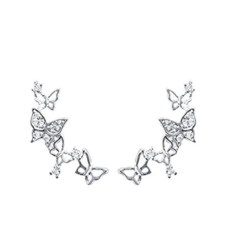 QUKE 925 Sterling Silver 3D Butterfly Cubic Zirconia Crystal Cuffs Climber Ear Vine Wrap Stud