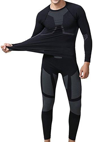 YOOY Herren Ski Unterwäsche Boy Thermounterwäsche Set Thermo Shirt Sport Funktionswäsche Garnitur für Herren Grau XXL