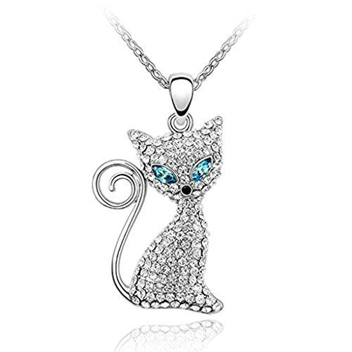 AnazoZ Schmuck Damen Mode Halskette Vergoldet Anhänger Halskette Katze Auge blau Halskette Glas Halskette für Damen