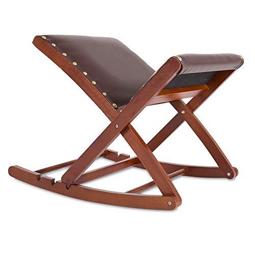 maxVitalis Beinschaukel, Fußablage, Hocker, höhenverstellbar, ergonomisch, gepolstert, pflegeleichter Kunstlederbezug, Massivholzgestell, zusammenklappbar, einfache Handhabung, braun