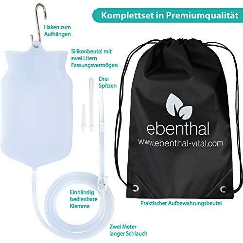 Premium Darmeinlauf-Beutel zur Darmreinigung 2L EBENTHAL VITAL® • Darmspülung-Irrigator aus durchsichtigem Silikon für mehr Hygiene • Klistier-Set mit 2M Schlauch • Inkl.