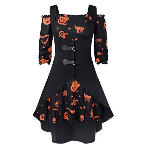iHAZA Femmes Halloween Robe Grande Taille Multicolore Nouveau Hors De L'épaule Citrouille Imprimer Halloween Vintage Robe avec Gilet 2 Pcs