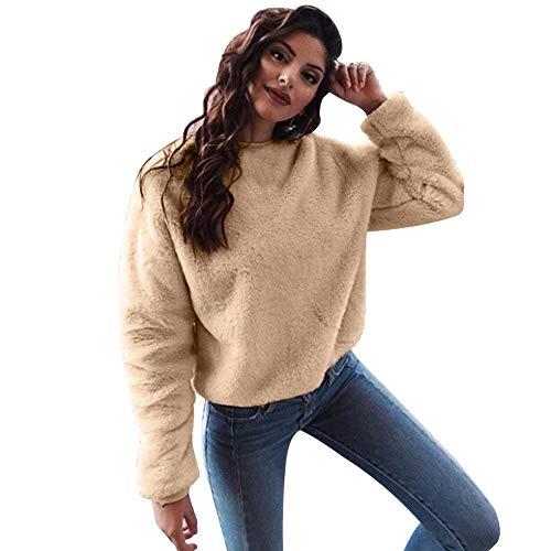 TianWlio Damen Langarmshirt Bluse T-Shirt Tops Frauen Herbst Winter Mode Lässige Tops Mischung Fuzzy Bluse Pullover Jumper Lose Pullover