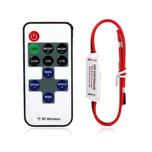 Nicebuty Mini LED contrôleur Variateur d'intensité avec télécommande RF sans fil DC 5 ~ 24 V 12 A