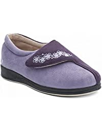 da883493d97b Padders HUG Ladies Microsuede Velcro Extra Wide (EE) Fitting Slippers Purple -Lavender