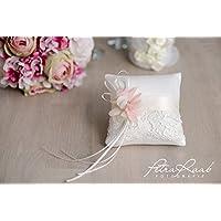 Ringkissen Wedding Pillow Hochzeit Ringe ivory rosa Blüten Röschen Braut Dekoration AK12
